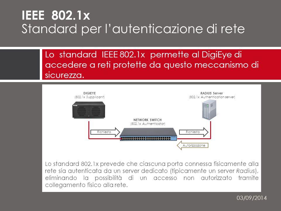 Lo standard 802.1x prevede che ciascuna porta connessa fisicamente alla rete sia autenticata da un server dedicato (tipicamente un server Radius), eliminando la possibilità di un accesso non autorizzato tramite collegamento fisico alla rete.