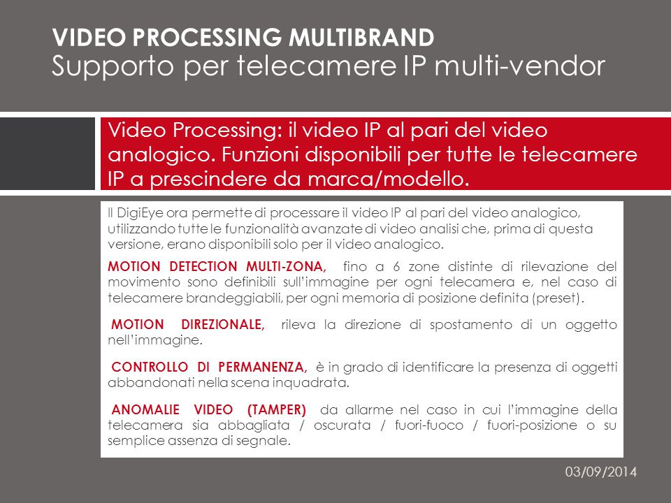 VIDEO PROCESSING MULTIBRAND Supporto per telecamere IP multi-vendor MULTI-BRAND perché le funzioni indicate sono disponibili per tutte le telecamere IP(*), a prescindere da marca/modello.