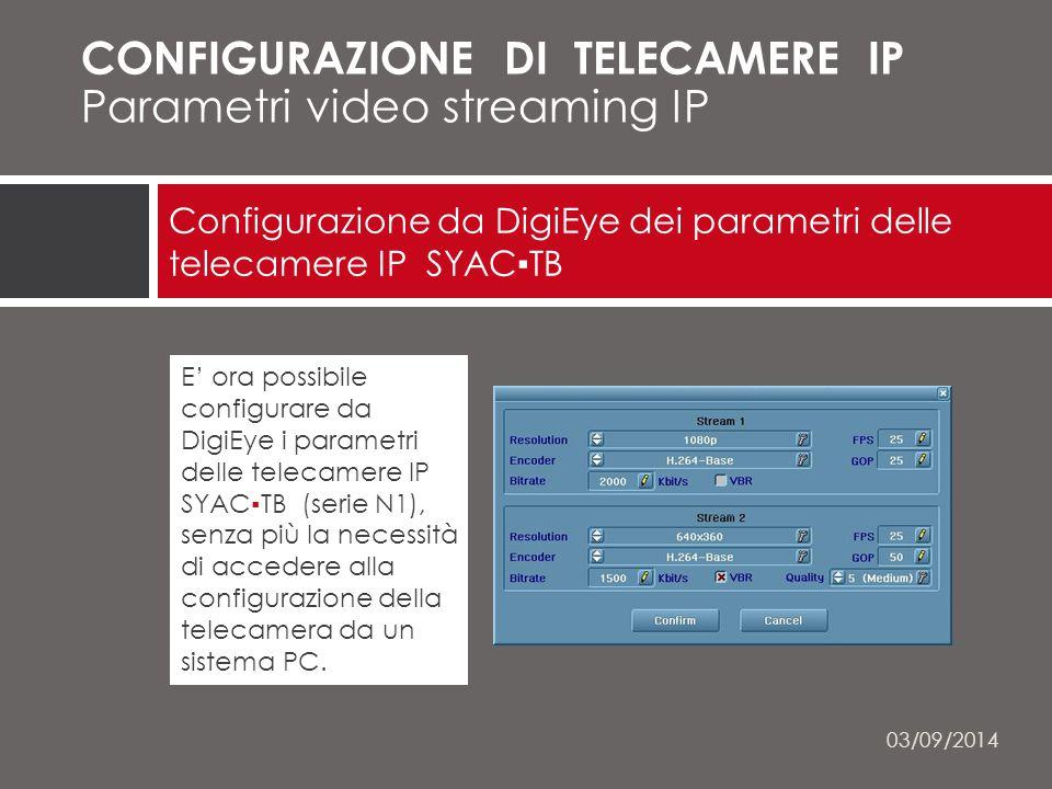 Configurazione da DigiEye dei parametri delle telecamere IP SYAC▪TB NETWORK CAMERAS CONFIGURAZIONE DI TELECAMERE IP Parametri video streaming IP E' ora possibile configurare da DigiEye i parametri delle telecamere IP SYAC▪TB (serie N1), senza più la necessità di accedere alla configurazione della telecamera da un sistema PC.