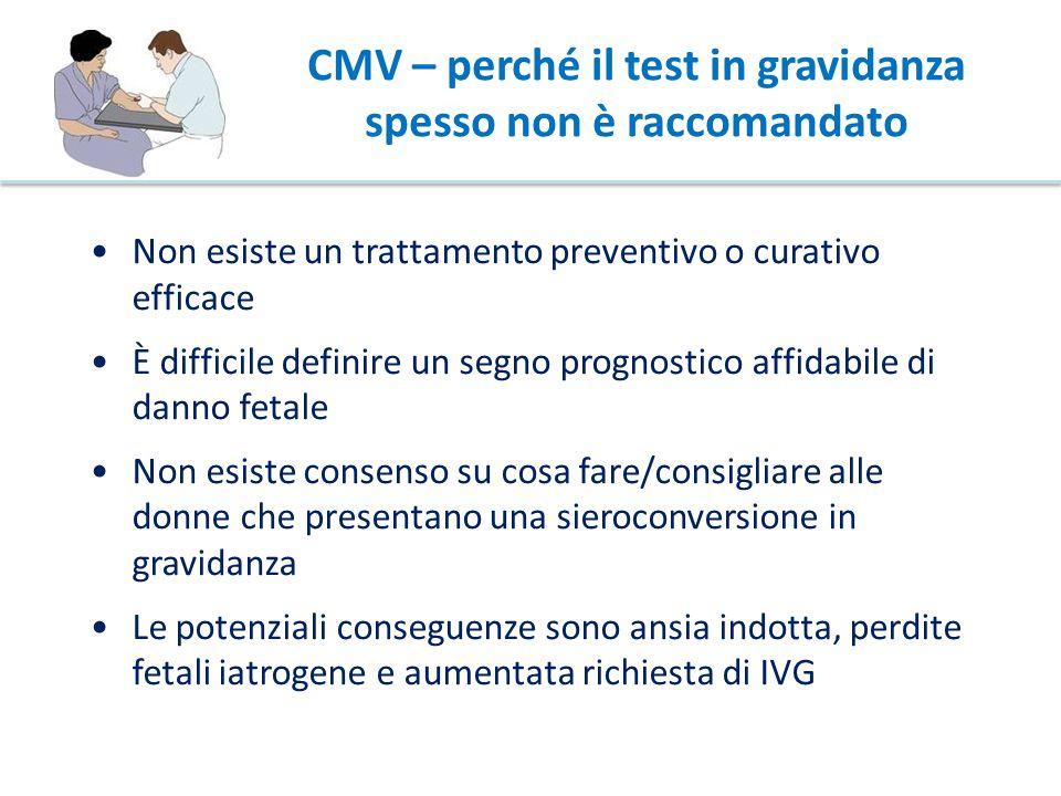 CMV – perché il test in gravidanza spesso non è raccomandato Non esiste un trattamento preventivo o curativo efficace È difficile definire un segno pr