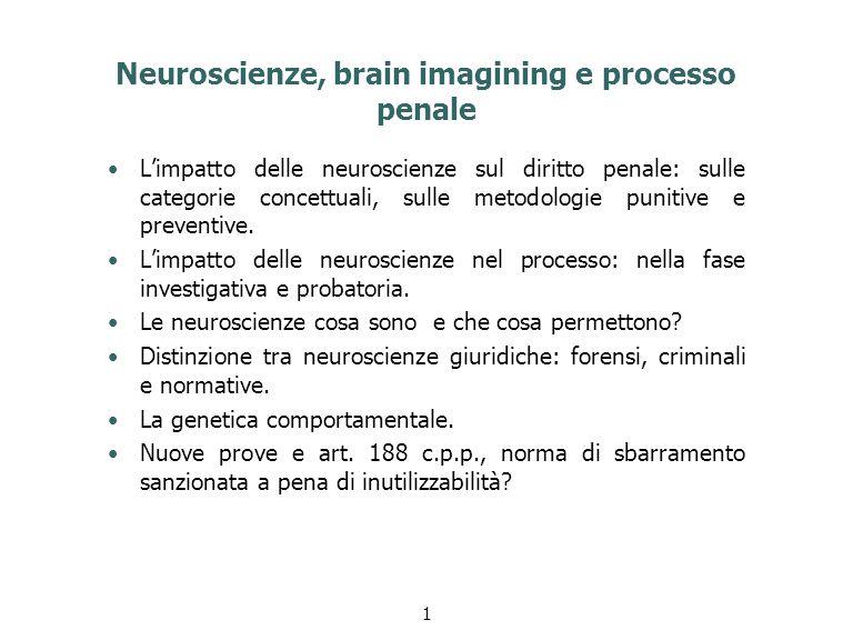 Neuroscienze, brain imagining e processo penale L'impatto delle neuroscienze sul diritto penale: sulle categorie concettuali, sulle metodologie punitive e preventive.