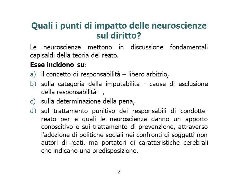 Quali i punti di impatto delle neuroscienze sul diritto.