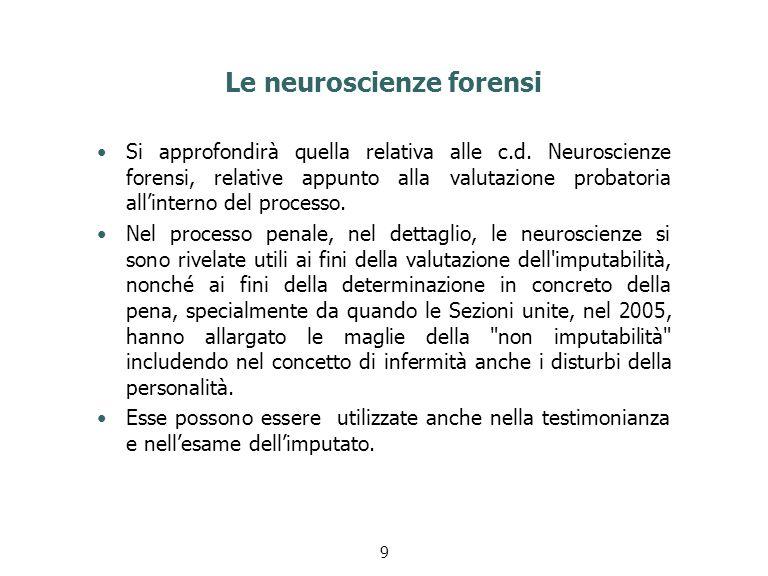 Le neuroscienze forensi Si approfondirà quella relativa alle c.d. Neuroscienze forensi, relative appunto alla valutazione probatoria all'interno del p
