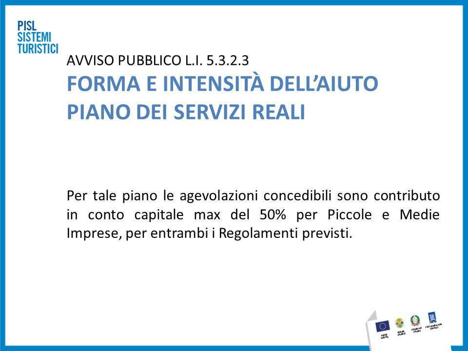 AVVISO PUBBLICO L.I. 5.3.2.3 FORMA E INTENSITÀ DELL'AIUTO PIANO DEI SERVIZI REALI Per tale piano le agevolazioni concedibili sono contributo in conto
