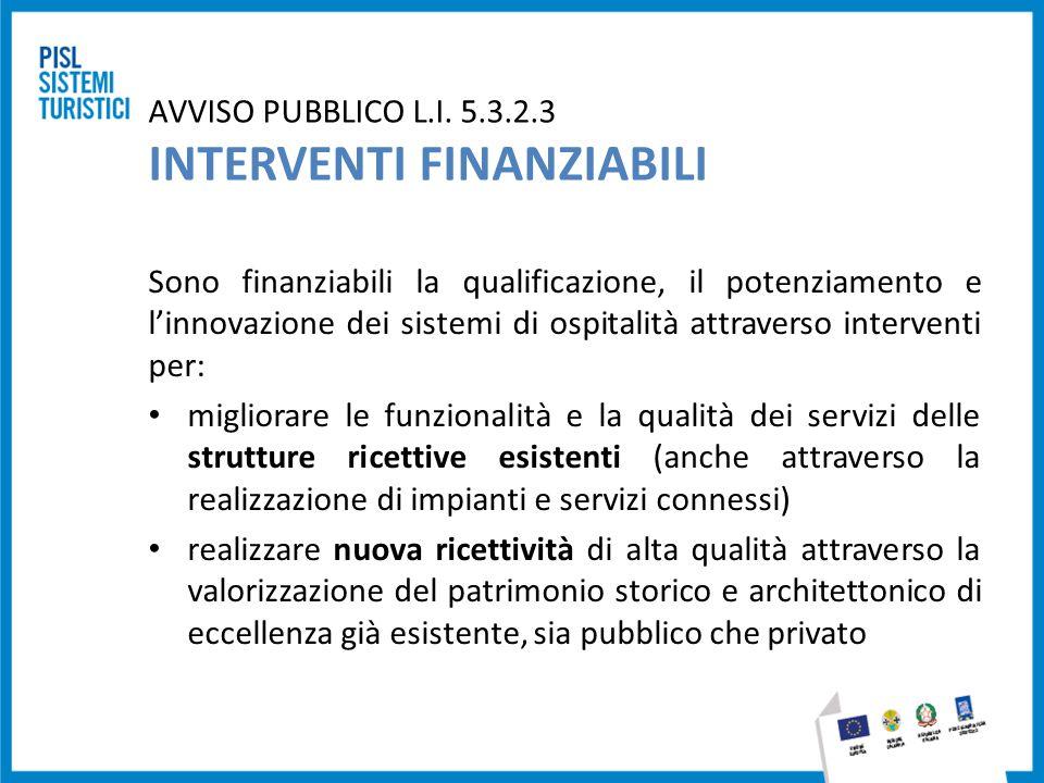 AVVISO PUBBLICO L.I. 5.3.2.3 INTERVENTI FINANZIABILI Sono finanziabili la qualificazione, il potenziamento e l'innovazione dei sistemi di ospitalità a
