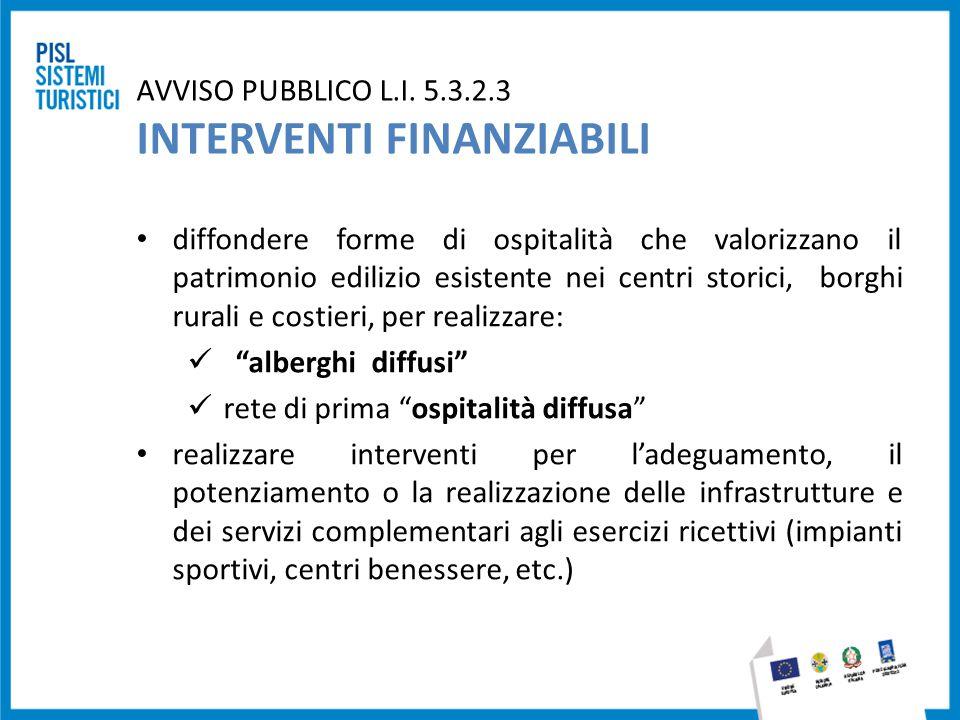 AVVISO PUBBLICO L.I. 5.3.2.3 INTERVENTI FINANZIABILI diffondere forme di ospitalità che valorizzano il patrimonio edilizio esistente nei centri storic