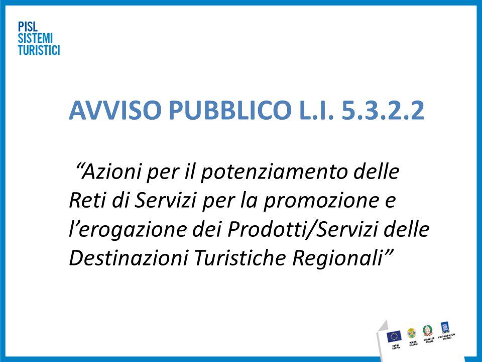 """AVVISO PUBBLICO L.I. 5.3.2.2 """"Azioni per il potenziamento delle Reti di Servizi per la promozione e l'erogazione dei Prodotti/Servizi delle Destinazio"""