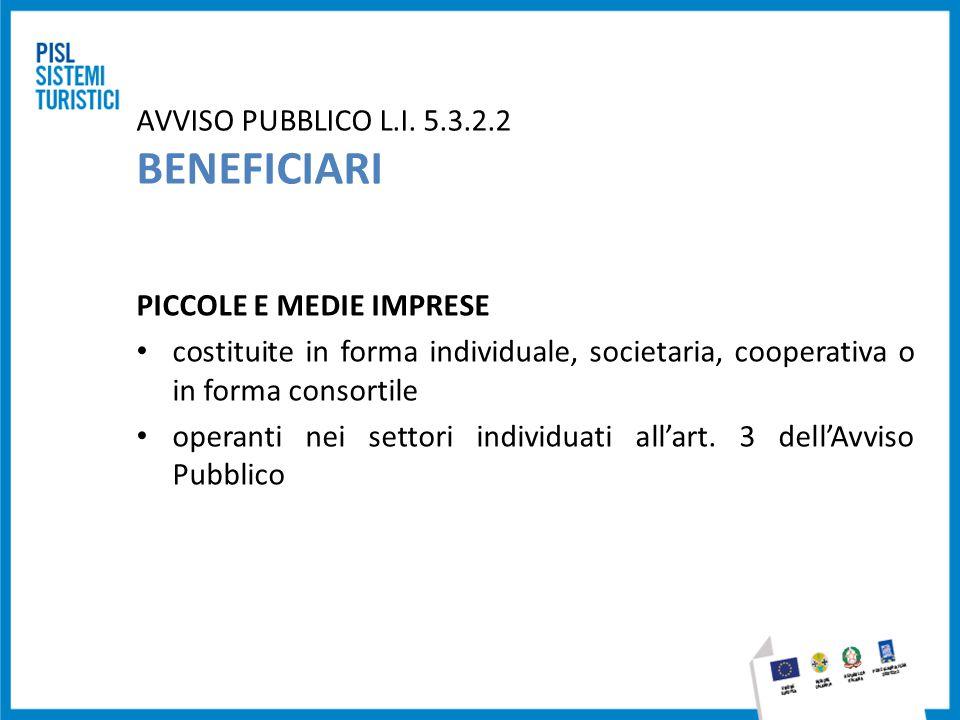 AVVISO PUBBLICO L.I. 5.3.2.2 BENEFICIARI PICCOLE E MEDIE IMPRESE costituite in forma individuale, societaria, cooperativa o in forma consortile operan
