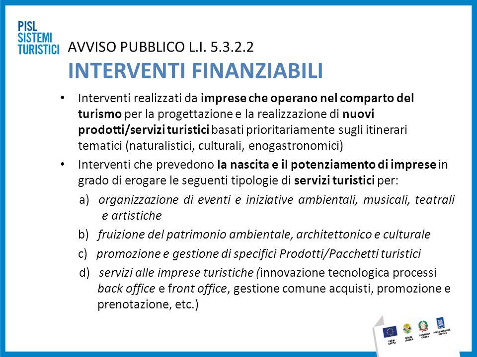 AVVISO PUBBLICO L.I. 5.3.2.2 INTERVENTI FINANZIABILI Interventi realizzati da imprese che operano nel comparto del turismo per la progettazione e la r