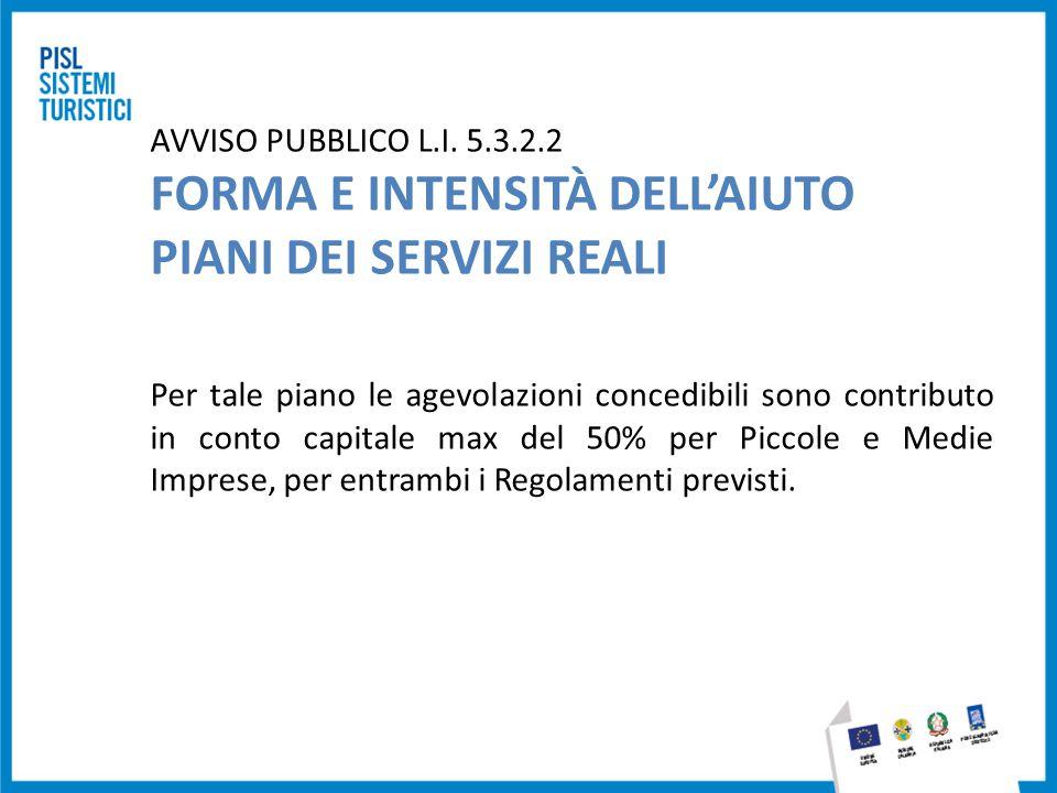 AVVISO PUBBLICO L.I. 5.3.2.2 FORMA E INTENSITÀ DELL'AIUTO PIANI DEI SERVIZI REALI Per tale piano le agevolazioni concedibili sono contributo in conto