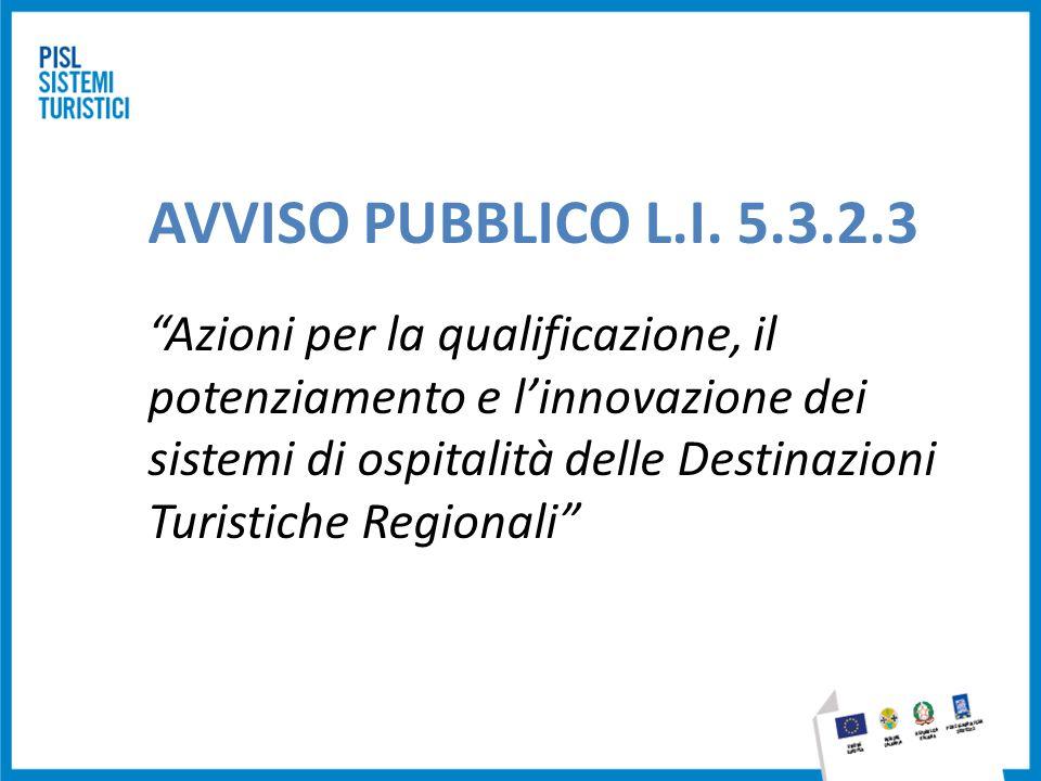 """AVVISO PUBBLICO L.I. 5.3.2.3 """"Azioni per la qualificazione, il potenziamento e l'innovazione dei sistemi di ospitalità delle Destinazioni Turistiche R"""