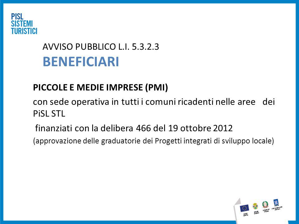 AVVISO PUBBLICO L.I. 5.3.2.3 BENEFICIARI PICCOLE E MEDIE IMPRESE (PMI) con sede operativa in tutti i comuni ricadenti nelle aree dei PiSL STL finanzia