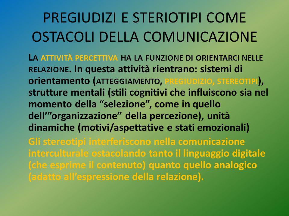 PREGIUDIZI E STERIOTIPI COME OSTACOLI DELLA COMUNICAZIONE L A ATTIVITÀ PERCETTIVA HA LA FUNZIONE DI ORIENTARCI NELLE RELAZIONE. In questa attività rie