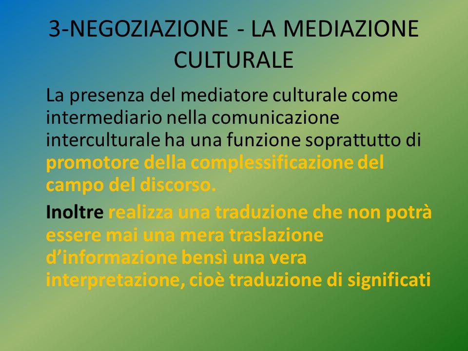 3-NEGOZIAZIONE - LA MEDIAZIONE CULTURALE La presenza del mediatore culturale come intermediario nella comunicazione interculturale ha una funzione sop
