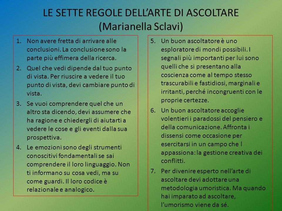 LE SETTE REGOLE DELL'ARTE DI ASCOLTARE (Marianella Sclavi) 1.Non avere fretta di arrivare alle conclusioni. La conclusione sono la parte più effimera