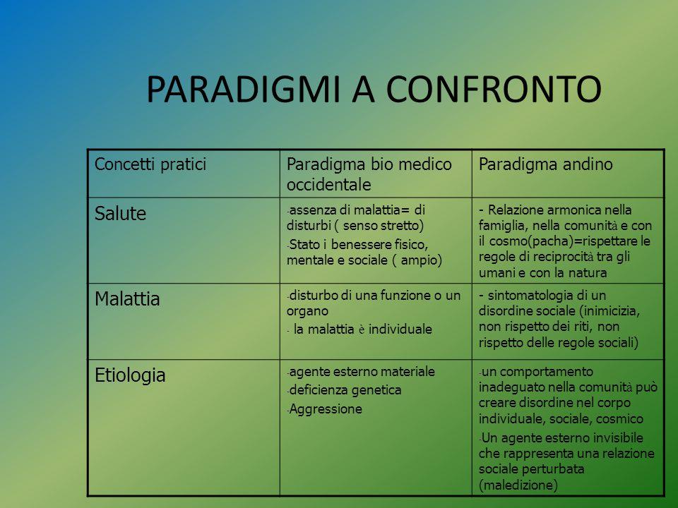 PARADIGMI A CONFRONTO Concetti praticiParadigma bio medico occidentale Paradigma andino Salute - assenza di malattia= di disturbi ( senso stretto) - S