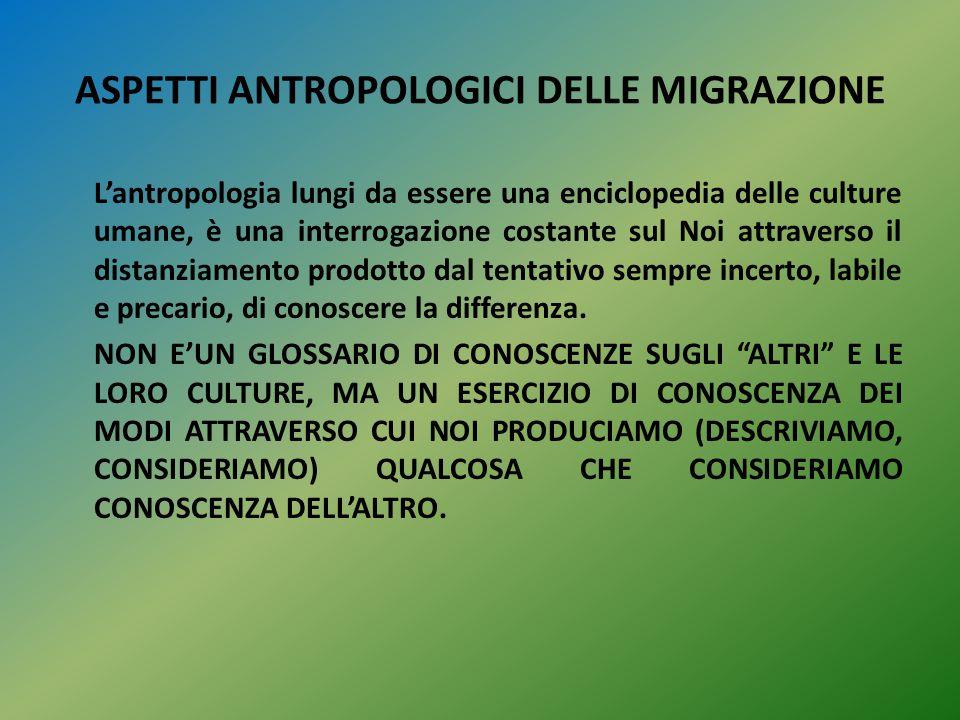 ASPETTI ANTROPOLOGICI DELLE MIGRAZIONE L'antropologia lungi da essere una enciclopedia delle culture umane, è una interrogazione costante sul Noi attr