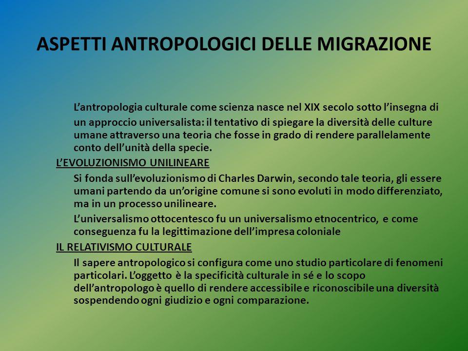 ASPETTI ANTROPOLOGICI DELLE MIGRAZIONE L'antropologia culturale come scienza nasce nel XIX secolo sotto l'insegna di un approccio universalista: il te