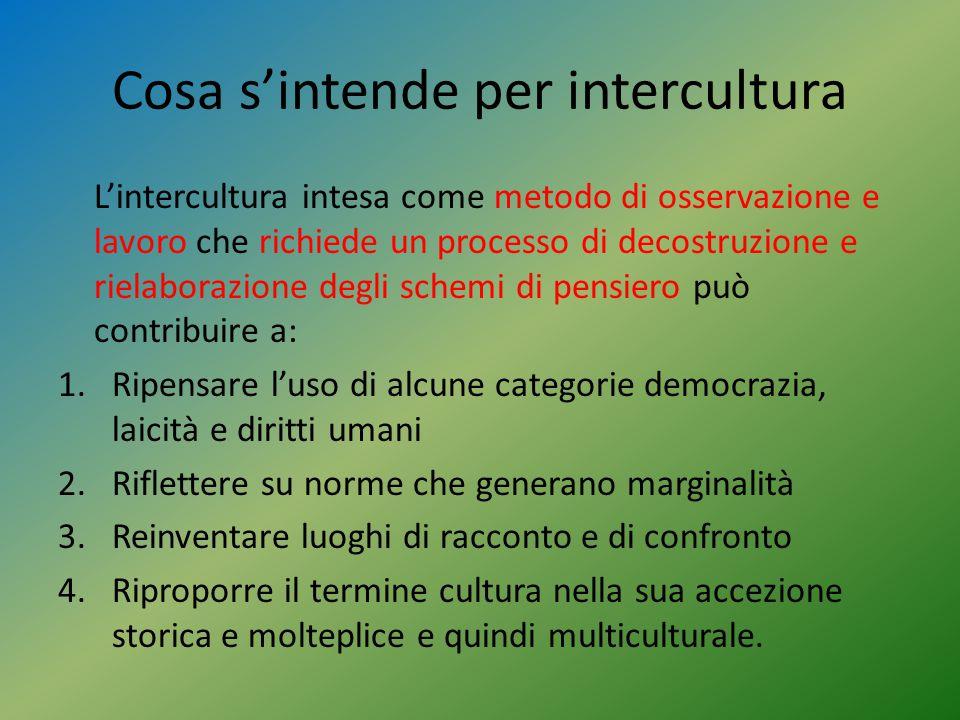 Cosa s'intende per intercultura L'intercultura intesa come metodo di osservazione e lavoro che richiede un processo di decostruzione e rielaborazione