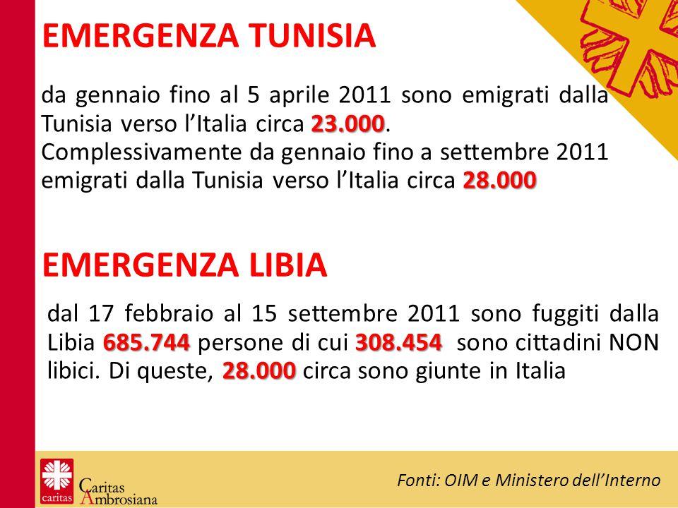 EMERGENZA TUNISIA 685.744308.454 28.000 dal 17 febbraio al 15 settembre 2011 sono fuggiti dalla Libia 685.744 persone di cui 308.454 sono cittadini NO