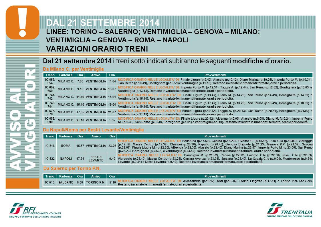 LINEE: TORINO – SALERNO; VENTIMIGLIA – GENOVA – MILANO; VENTIMIGLIA – GENOVA – ROMA – NAPOLI VARIAZIONI ORARIO TRENI DAL 21 SETTEMBRE 2014 Dal 21 sett