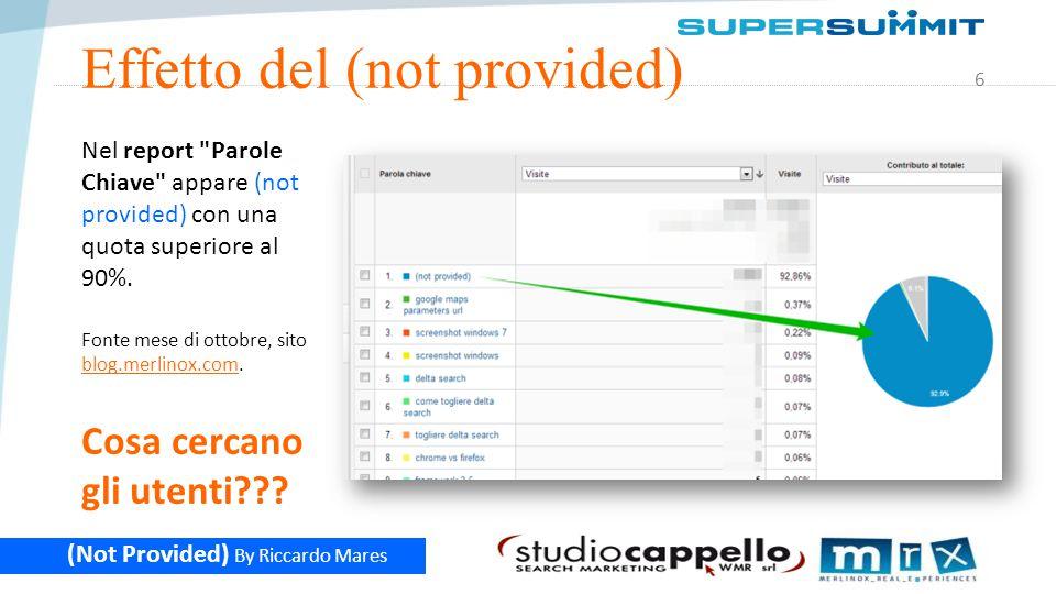 7 (Not Provided) By Riccardo Mares Google Webmaster Tools Google Webmaster Tools non è un altro Analytics ma è una vista moderata dei dati che Google ha in suo possesso.