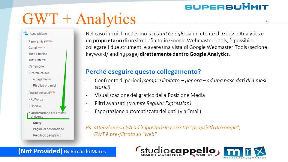 10 (Not Provided) By Riccardo Mares GWT + Analytics: posizione media Visualizzazione delle impression e della posizione media relativa a tutte le query con dentro delta search .