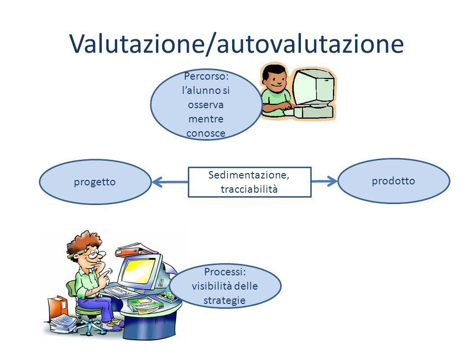 Valutazione/autovalutazione Processi: visibilità delle strategie Percorso: l'alunno si osserva mentre conosce progetto prodotto Sedimentazione, tracci