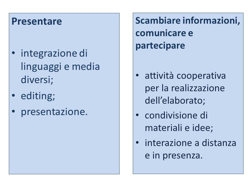 Presentare integrazione di linguaggi e media diversi; editing; presentazione. Scambiare informazioni, comunicare e partecipare attività cooperativa pe
