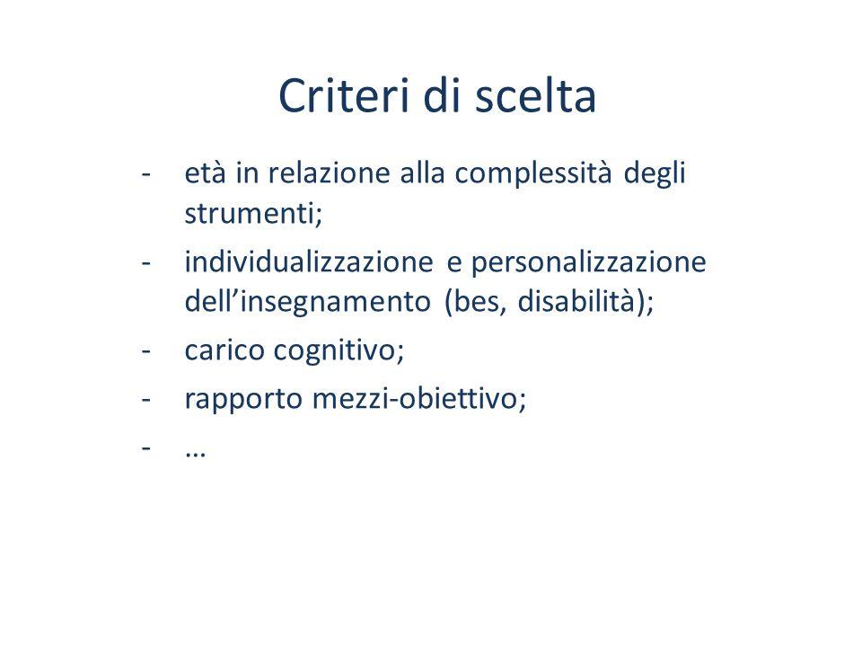 Criteri di scelta -età in relazione alla complessità degli strumenti; -individualizzazione e personalizzazione dell'insegnamento (bes, disabilità); -c