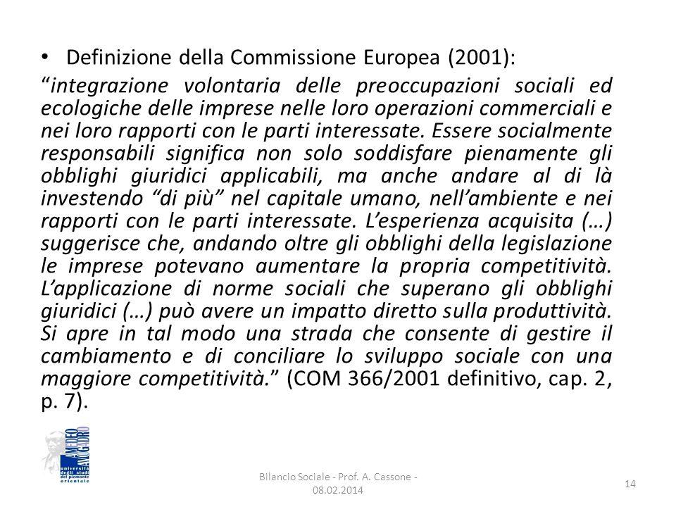 Definizione della Commissione Europea (2001): integrazione volontaria delle preoccupazioni sociali ed ecologiche delle imprese nelle loro operazioni commerciali e nei loro rapporti con le parti interessate.