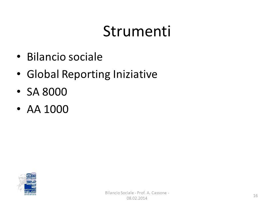 Strumenti Bilancio sociale Global Reporting Iniziative SA 8000 AA 1000 16 Bilancio Sociale - Prof.