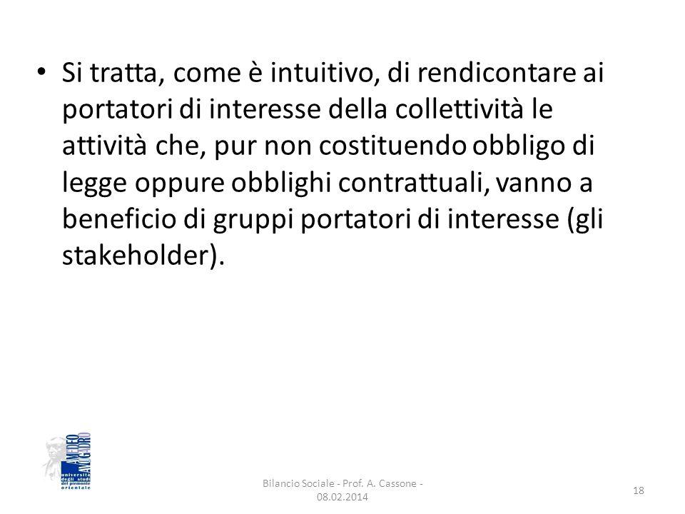 Si tratta, come è intuitivo, di rendicontare ai portatori di interesse della collettività le attività che, pur non costituendo obbligo di legge oppure obblighi contrattuali, vanno a beneficio di gruppi portatori di interesse (gli stakeholder).