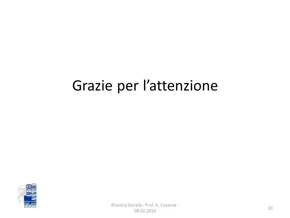 Grazie per l'attenzione Bilancio Sociale - Prof. A. Cassone - 08.02.2014 20