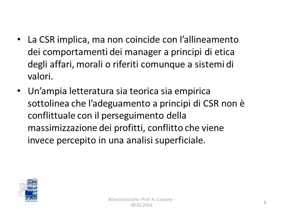 La CSR implica, ma non coincide con l'allineamento dei comportamenti dei manager a principi di etica degli affari, morali o riferiti comunque a sistemi di valori.