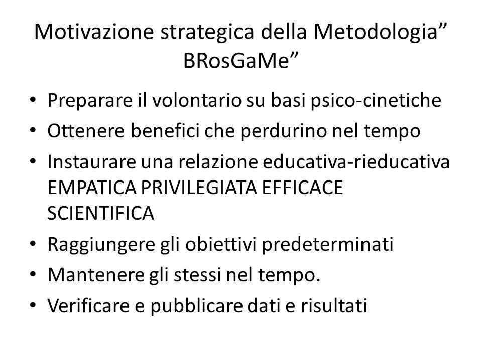 """Motivazione strategica della Metodologia"""" BRosGaMe"""" Preparare il volontario su basi psico-cinetiche Ottenere benefici che perdurino nel tempo Instaura"""