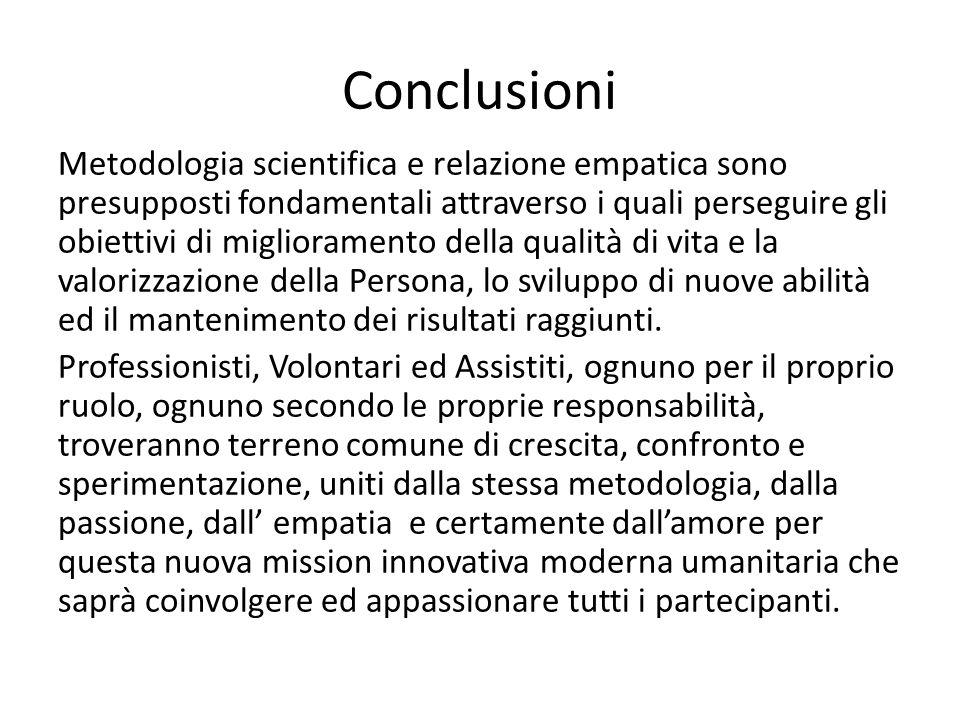 Conclusioni Metodologia scientifica e relazione empatica sono presupposti fondamentali attraverso i quali perseguire gli obiettivi di miglioramento de