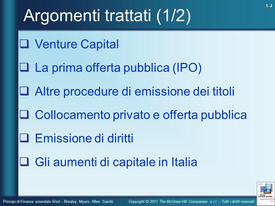 1- 2 Principi di Finanza aziendale 6/ed – Brealey.
