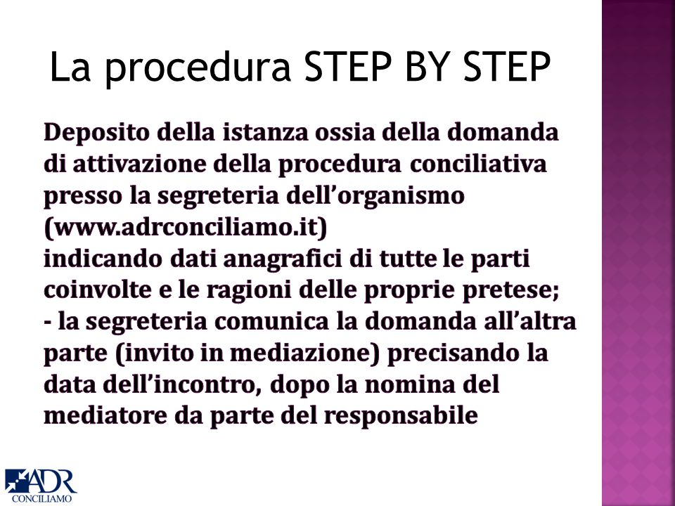La procedura STEP BY STEP