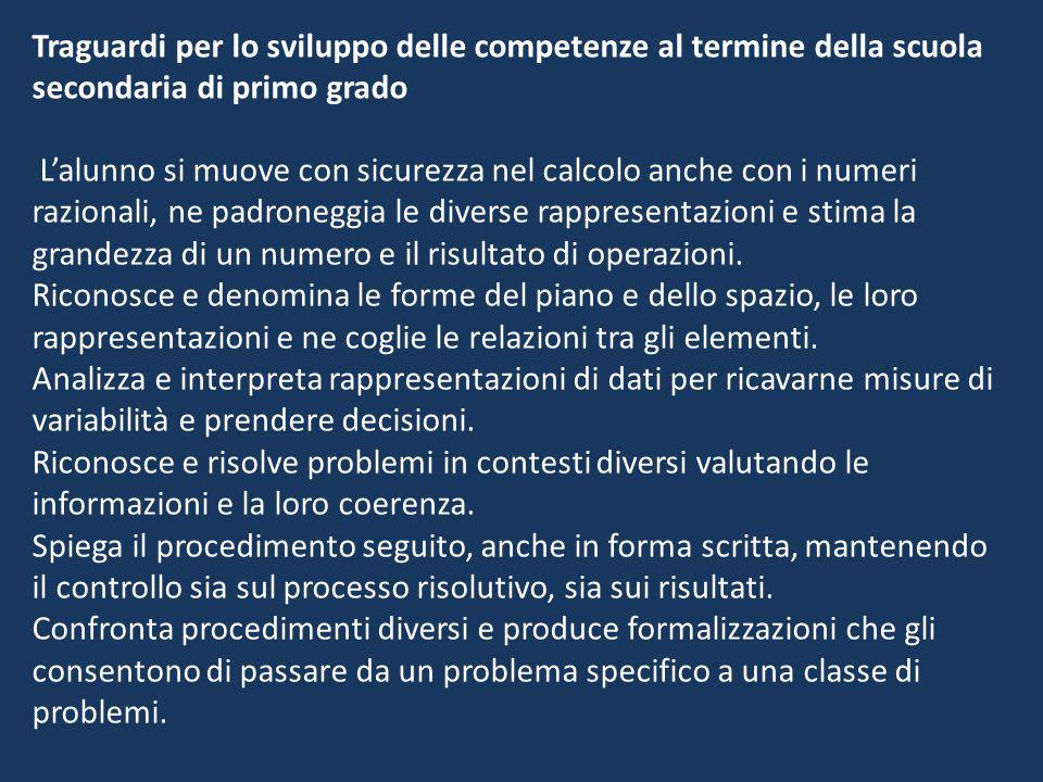 L'alunno si muove con sicurezza nel calcolo anche con i numeri razionali, ne padroneggia le diverse rappresentazioni e stima la grandezza di un numero e il risultato di operazioni.