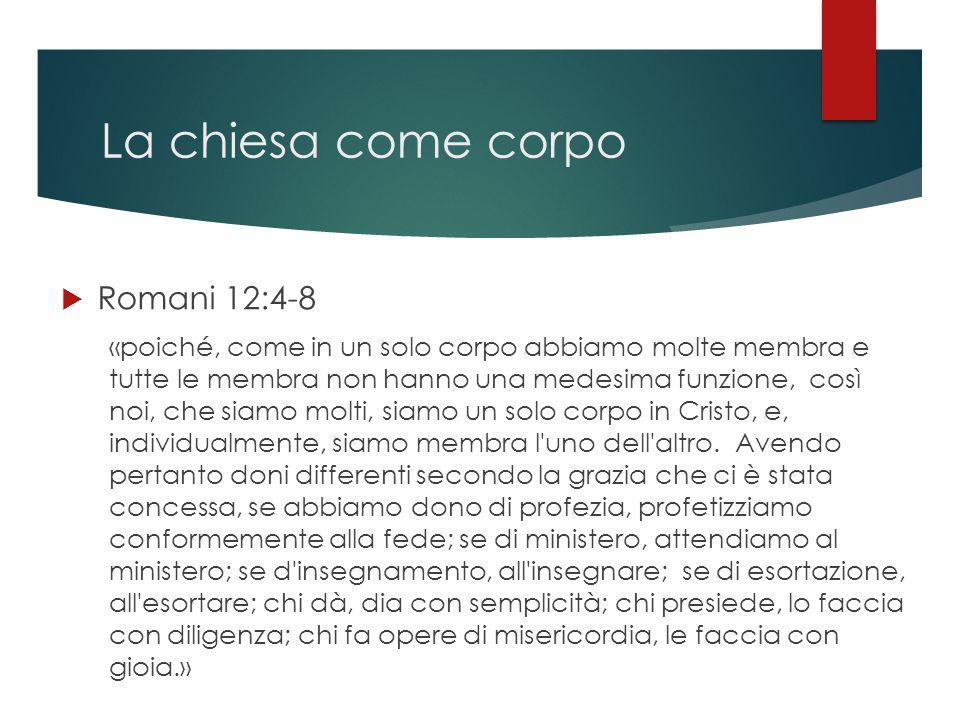 La chiesa come corpo  Romani 12:4-8 «poiché, come in un solo corpo abbiamo molte membra e tutte le membra non hanno una medesima funzione, così noi,
