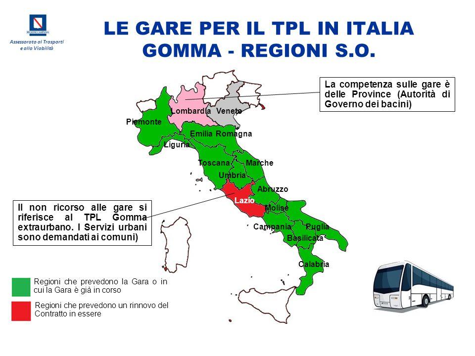 Assessorato ai Trasporti e alla Viabilità LE GARE PER IL TPL IN ITALIA GOMMA - REGIONI S.O. Lombardia Liguria Piemonte Emilia Romagna Veneto Toscana L