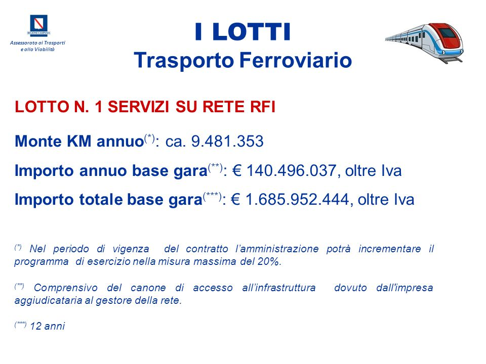Assessorato ai Trasporti e alla Viabilità LOTTO N. 1 SERVIZI SU RETE RFI I LOTTI Trasporto Ferroviario Monte KM annuo (*) : ca. 9.481.353 Importo annu