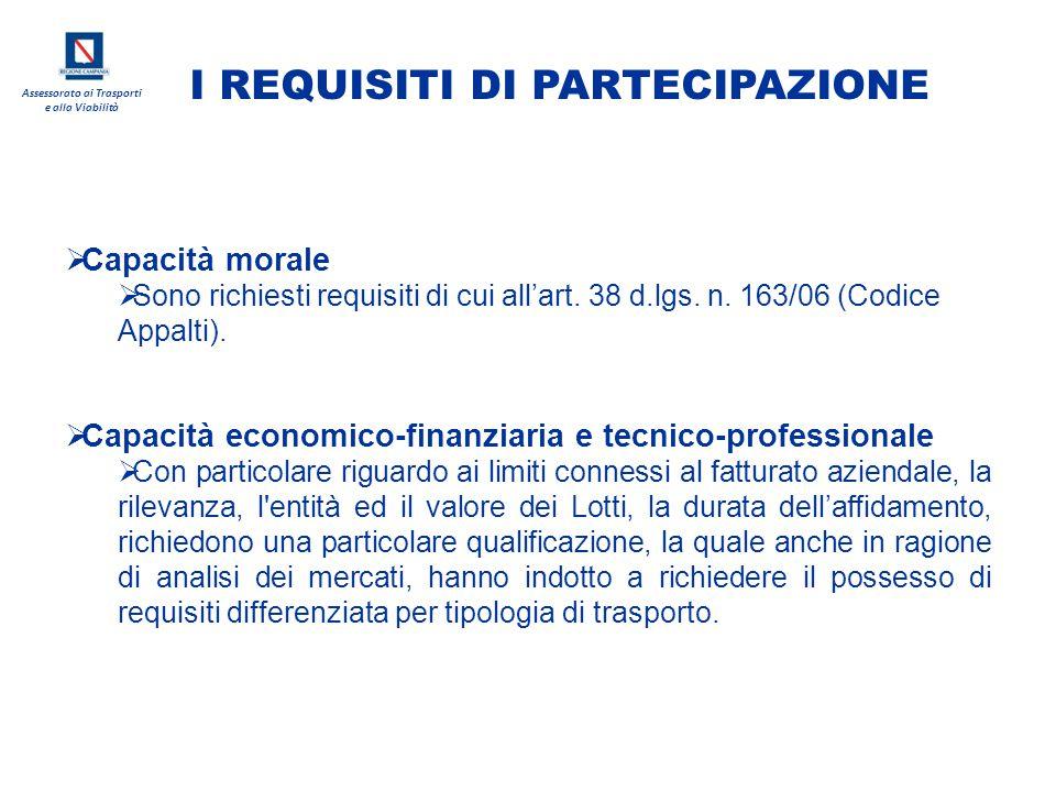 Assessorato ai Trasporti e alla Viabilità  Capacità morale  Sono richiesti requisiti di cui all'art. 38 d.lgs. n. 163/06 (Codice Appalti).  Capacit