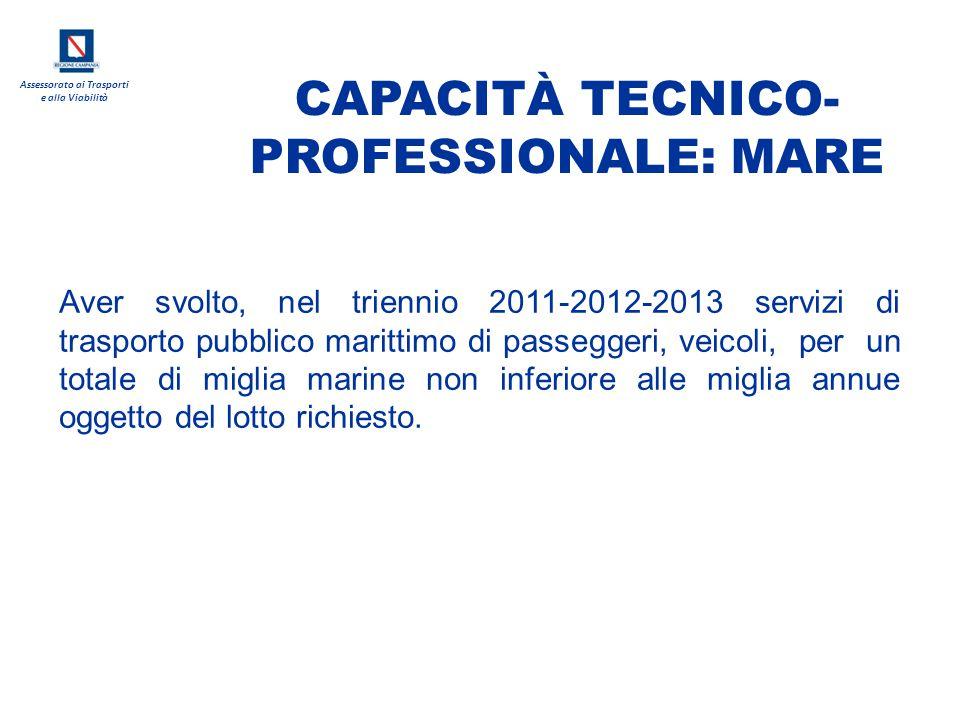 Assessorato ai Trasporti e alla Viabilità Aver svolto, nel triennio 2011-2012-2013 servizi di trasporto pubblico marittimo di passeggeri, veicoli, per
