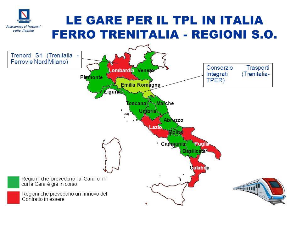 Assessorato ai Trasporti e alla Viabilità LE GARE PER IL TPL IN ITALIA FERRO TRENITALIA - REGIONI S.O. Lombardia Liguria Piemonte Emilia Romagna Venet