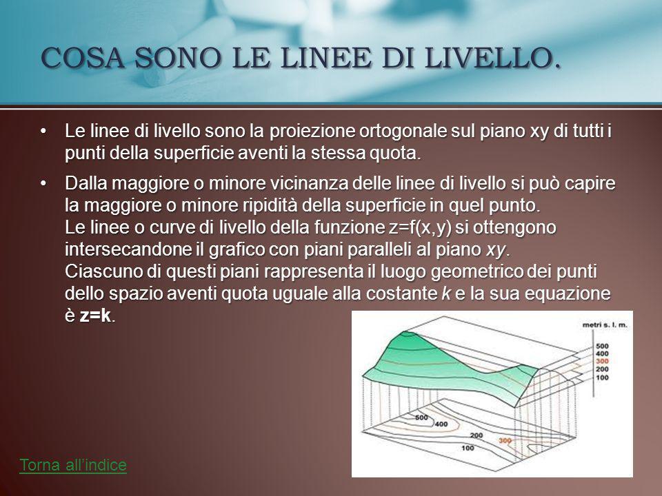 Le linee di livello sono la proiezione ortogonale sul piano xy di tutti i punti della superficie aventi la stessa quota.Le linee di livello sono la proiezione ortogonale sul piano xy di tutti i punti della superficie aventi la stessa quota.