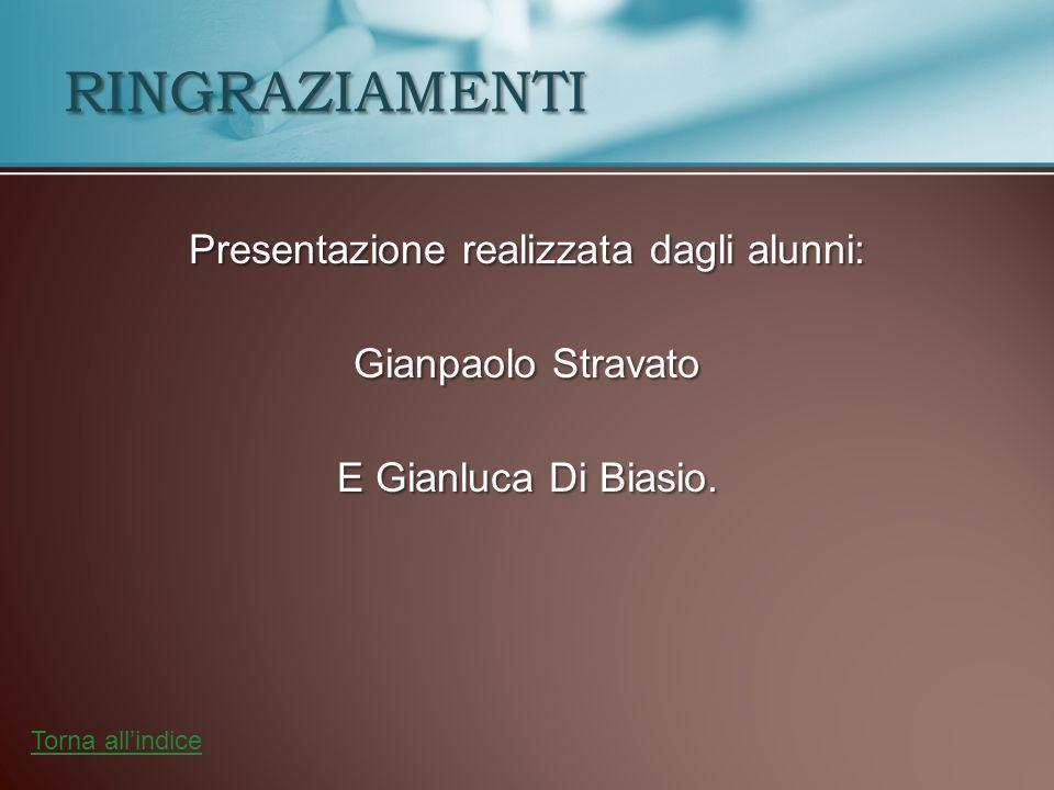 Presentazione realizzata dagli alunni: Gianpaolo Stravato E Gianluca Di Biasio. RINGRAZIAMENTI Torna all'indice