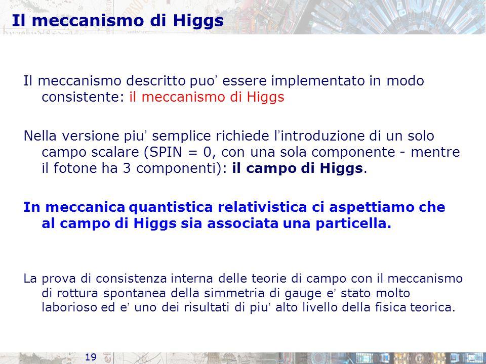 19 Il meccanismo di Higgs Il meccanismo descritto puo ' essere implementato in modo consistente: il meccanismo di Higgs Nella versione piu ' semplice richiede l ' introduzione di un solo campo scalare (SPIN = 0, con una sola componente - mentre il fotone ha 3 componenti): il campo di Higgs.