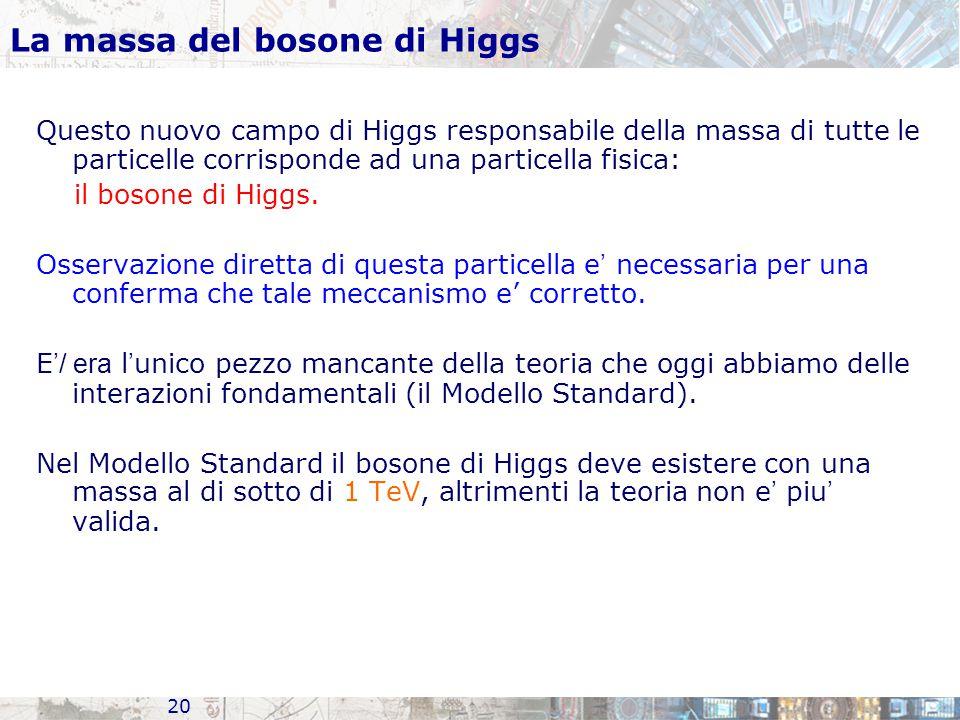 20 La massa del bosone di Higgs Questo nuovo campo di Higgs responsabile della massa di tutte le particelle corrisponde ad una particella fisica: il bosone di Higgs.